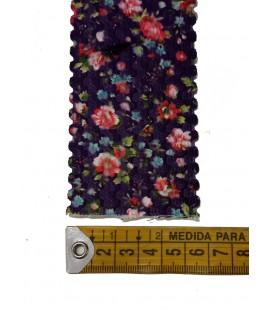 Elástico morado flores 6 cm